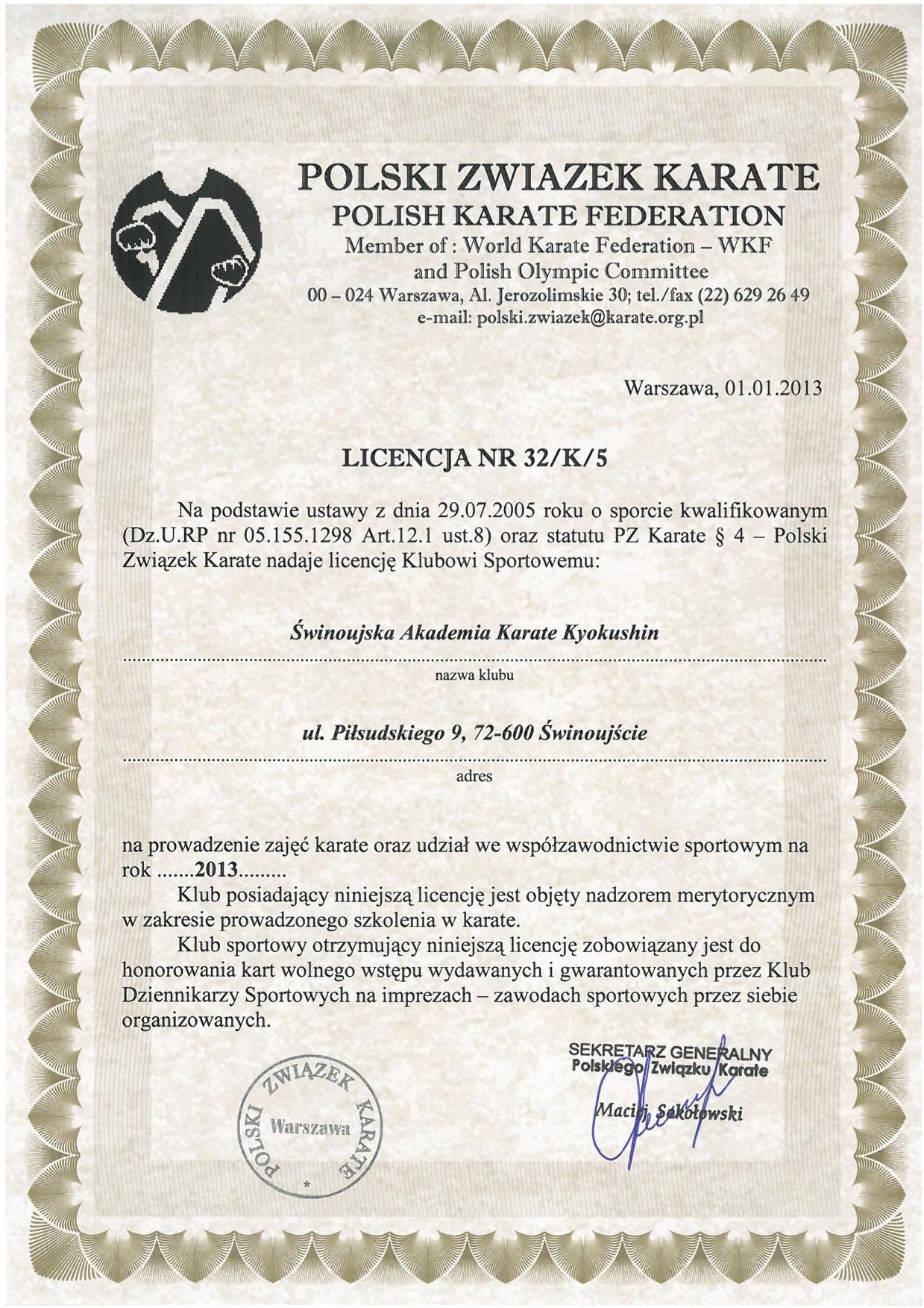 Licencja 2013