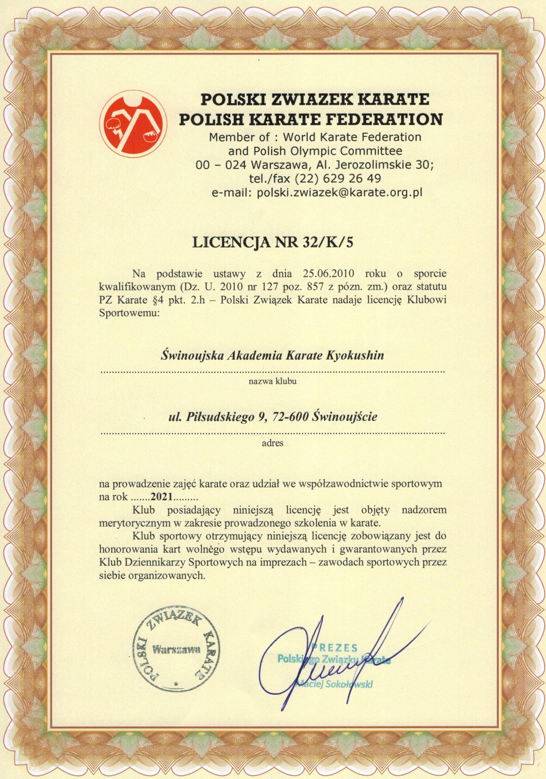 Licencja 2021